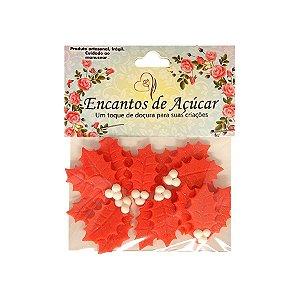 "Confeitos Comestíveis ""Folha de Natal Bola Branca Euphorbia"" - 01 Unidade - Rizzo"