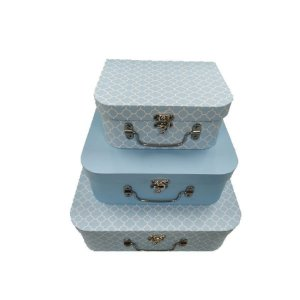 Kit Maleta Texturizado Azul Claro - 03 Unidades - Rizzo Embalagens