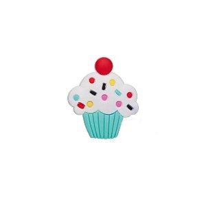Aplique Cupcake Azul Silicone - 3,5cm - 4 Un - Artegift - Rizzo