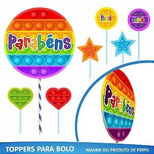 Toppers para Bolo Festa Pop It - 07pçs - 01 Unidade - Piffer - Rizzo