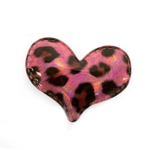 Aplique Coração Rosa Animal Print Decorativo - 2 Un - Artegift - Rizzo