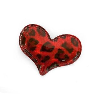 Aplique Coração Vermelho Animal Print Decorativo - 2 Un - Artegift - Rizzo