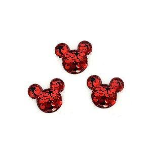 Aplique Mini Urso Paetê Vermelho - 3,5cm - 5 Un - Artegift - Rizzo