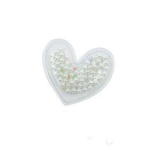 Aplique Coração Incolor Pérola Branco - 5cm - 2 Un - Artegift - Rizzo