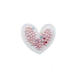 Aplique Coração Incolor Pérola Rosa - 5cm - 2 Un - Artegift - Rizzo