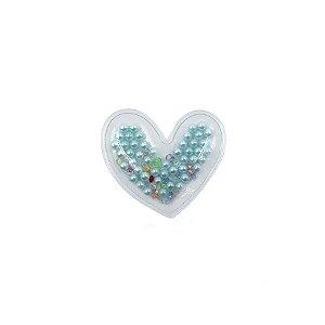 Aplique Coração Incolor Pérola Azul - 5cm - 2 Un - Artegift - Rizzo