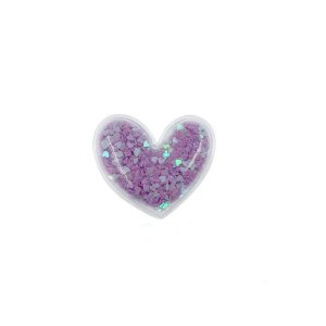 Aplique Coração Incolor Lilás - 5cm - 2 Un - Artegift - Rizzo