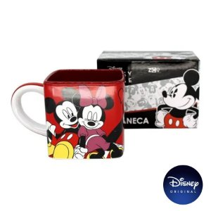 Caneca Quadrada Mickey e Minnie Namorados - 300ml - Disney Original - 01 Un - Rizzo