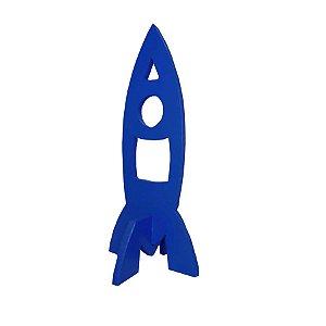 Decoração Foguete de Madeira - Azul - 01 Unidade Rizzo