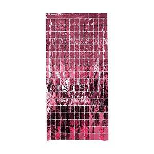 Cortina Decorativa Painel Mágico 1x2m - Retângulos - Rosa - Art Lille - Rizzo