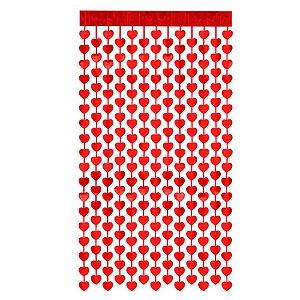 Cortina Decorativa Painel Mágico - 1x2m - Coração - Vermelho - Art Lille - Rizzo
