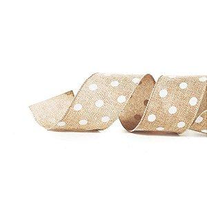 Fita Tecido Nude Bolas Brancas 6,3cm - 01 unidade 10m- Cromus Natal - Rizzo