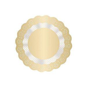 Fundo Rendado Redondo Ouro - 100 unidades - Cromus - Rizzo