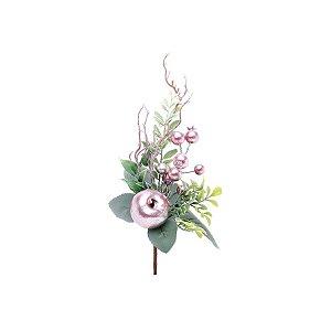Enfeite de Natal Pick Folhas & Frutas 28x13x7cm- Rose & Verde - Delicata - 1 UN - Cromus - Rizzo