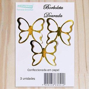 Decoração para Bolo em Papel - Borboleta Dourada - 03 unidades – MaxiFormas - Rizzo Confeitaria