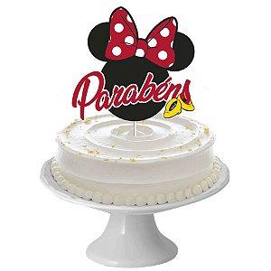 Decoração de Bolo Festa Minnie Mouse 1 Unidade Regina Rizzo