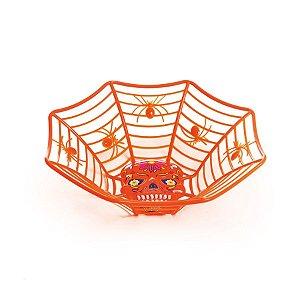 Cestinha Teia de Aranha Caveira Laranja Halloween Cromus Rizzo