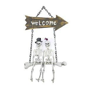 Enfeite de Porta Casal de Caveiras Halloween Cromus Rizzo