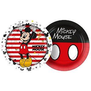 Prato Papel Redondo 18cm Festa Mickey Mouse 12 Unidades Regina Rizzo
