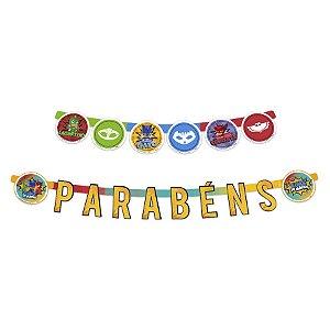 Faixa Parabéns Festa PJ Masks 2 - 01 Unidade Regina Rizzo