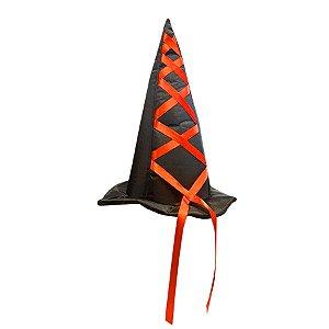 Chapéu de Bruxa Luxo - Laranja - 01 Unidade - Rizzo