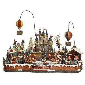 Cenário Vila com Balões - Luz Som e Movimento Bivolt 65cm - 01 unidade - Cromus Natal - Rizzo