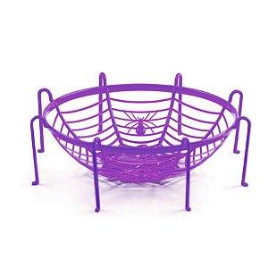 Cestinha Decorativa Halloween - Teia de Aranha - Roxo - 01 unidade - Cromus - Rizzo