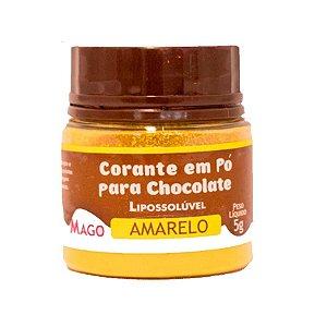 Corante em pó para chocolate lipossoluvel amarelo 5g Mago Rizzo Confeitaria