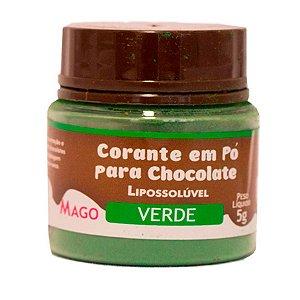 Corante em pó para chocolate lipossoluvel verde 5g Mago Rizzo Confeitaria