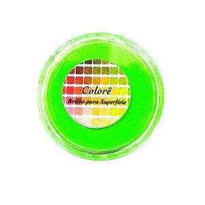 Pó para decoração, brilho para superficie colorê verde fluor 2g LullyCandy Rizzo Confeitaria