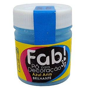 Pó para decoração azul aniz brilhante 3g Fab Rizzo Confeitaria