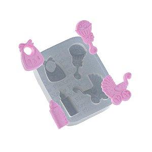 Molde de silicone Quarteto de objetos para Bebê Ref. 501 Flexarte Rizzo Confeitaria