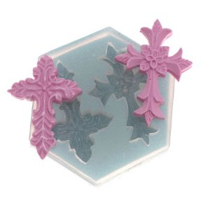 Molde de silicone Par de cruzes 1 Ref. 255 Flexarte Rizzo Confeitaria