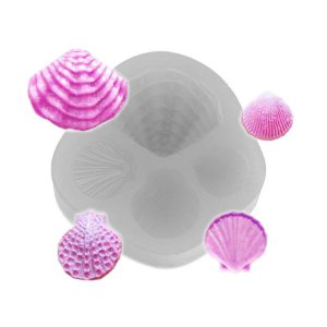 Molde de silicone Quarteto de conchas Ref. 145 Flexarte Rizzo Confeitaria