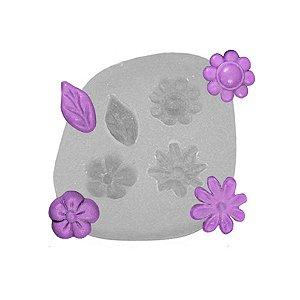 Molde de silicone Flores Miosotis pequenas Ref. 111 Flexarte Rizzo Confeitaria