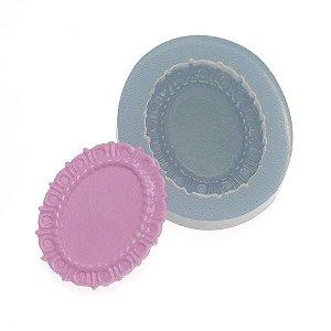 Molde de silicone Moldura Oval pequena 1 Ref. 342 Flexarte Rizzo Confeitaria