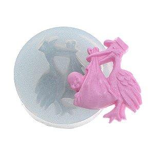 Molde de silicone Cegonha com bebê Ref. 193 Flexarte Rizzo Confeitaria