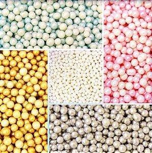 Confeitos comestíveis Pérola Pequena Dourado Ref. 122 Jeni Joni Rizzo Confeitaria