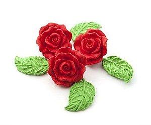Confeitos comestíveis Rosa Grande Vermelha  Ref. 68 Jeni Joni Rizzo Confeitaria
