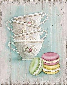 Placa Decor Home Xicaras & Macarons DHPM-073 Litoarte Rizzo Confeitaria