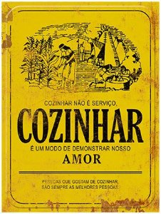 Placa Decor Home Rótulo Cozinhar não é Serviço DHPM-110 Litoarte Rizzo Confeitaria