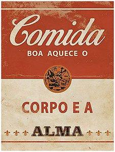 Placa Decor Home Rótulo Comida Boa Aquece DHPM-112 Litoarte Rizzo Confeitaria