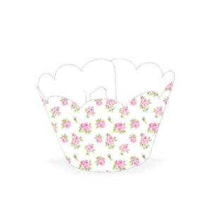 Wrapper para CupCake Tradicional Floral Branco Cod. 48.4 com 12 un. Nc Toys Rizzo Confeitaria