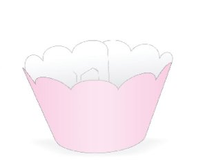 Wrapper para CupCake Tradicional Rosa Cod. 12.9 com 12 un. Nc Toys Rizzo Confeitaria