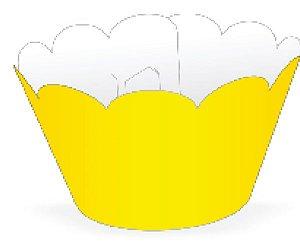 Mini Wrapper para CupCake Amarelo Cod. 20.2 com 12 un. Nc Toys