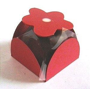 Forminha 4 Pétalas Vermelha Escura com 50 un. Embalagens para Doces Rizzo Confeitaria
