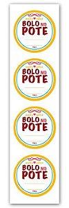 Etiqueta Adesiva Bolo no Pote Amarelo Cod. 4700 c/ 20 un. Miss Embalagens Rizzo Confeitaria