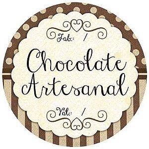 Adesivo Pote Chocolate Artesanal com Fabricação e Validade APL-006 c/ 3 un. Litoarte Rizzo Confeitaria
