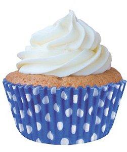 Forminha Mini CupCake Azul com Branco com 45 un. Cod. 6739 Mago Rizzo Confeitaria