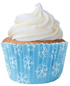 Forminha CupCake Flocos de Neve com 45 un. Cod. 6824 Mago Rizzo Confeitaria